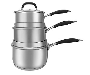John Lewis 3-Piece The Pan Stainless Steel Saucepan Set