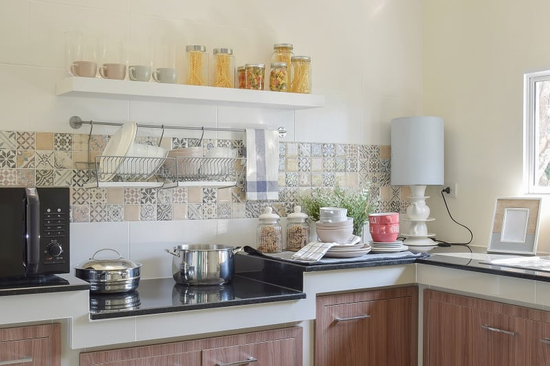 Ceramic hob in kitchen