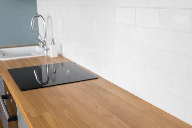 Ceramic hob on kitchen work surface