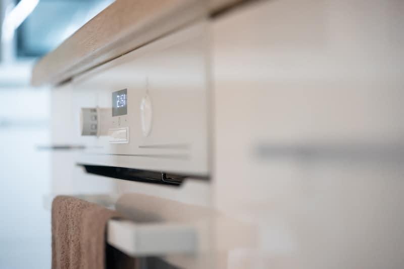 Close up oven door