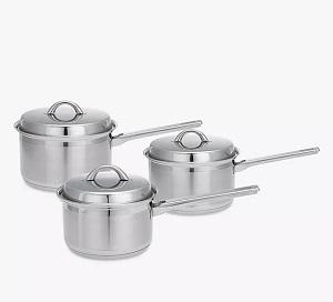 ohn Lewis & Partners Classic Stainless Steel Lidded Saucepan Set