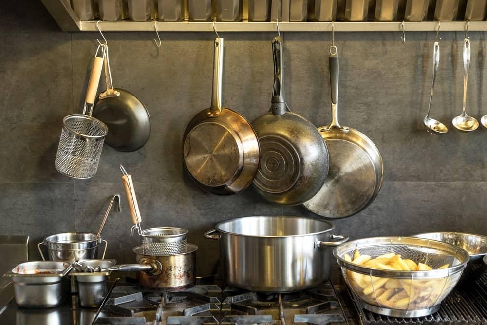 Different pans in kitchen
