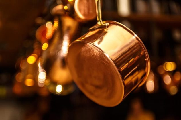 Copper Pan Hanging Up