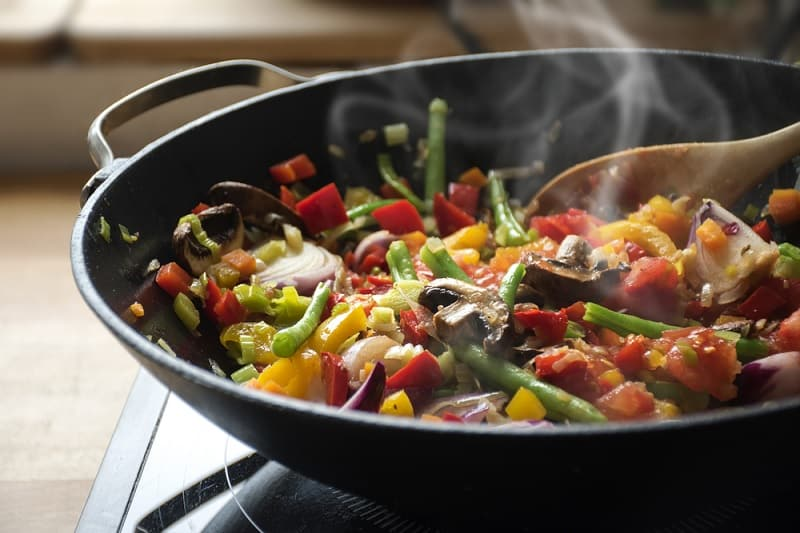 Stir Frying Vegetables In A Wok