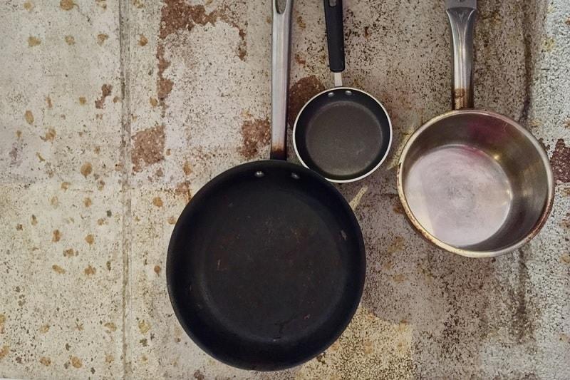 Cast iron pan hanging up